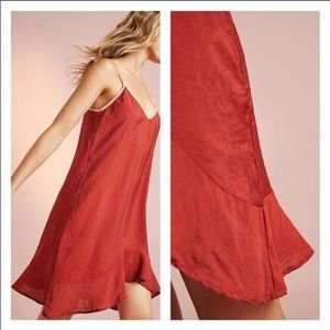 Lacausa Ruffle Slip night our dress in Rust